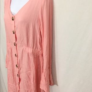 f193d924c4 SHEIN Dresses - SHEIN Button Front Split Bell Cuff Peach Dress